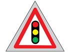 Traffic lights ahead roll up road sign