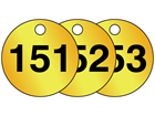 Brass valve tags, numbered 151-175