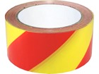 Laminated warning tape, red and yellow chevron.