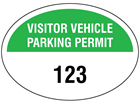 Visitor vehicle parking permit label, serial numbered