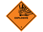 Explosive 1 hazard warning diamond sign