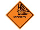 Explosive 1 hazard warning diamond sign