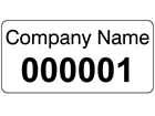 Assetmark serial number label (black text), 12mm x 25mm
