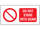 Do not stare into beam laser equipment warning safety label.