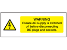 Warning ensure AC supply is switched off wind turbine hazard label
