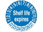 Shelf life expires month and year label