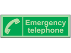 Emergency telephone photoluminescent safety sign