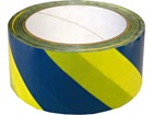 Laminated warning tape, blue and yellow chevron.
