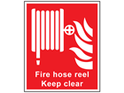 Fire hose reel Keep clear symbol and text sign