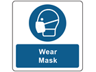 Wear mask symbol and text safety label.