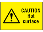 Caution hot surface symbol and text safety sign.