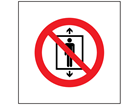 No riding on hoist symbol safety sign.