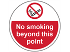 No smoking beyond this point symbol and text floor graphic marker.