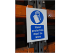 Hand protection must be worn symbol and text safety sign.