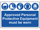 Approved personal protective equipment must be worn sign