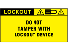 Do not tamper with electrical device label