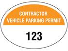 Contractor vehicle parking permit label, serial numbered