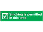 Smoking is permitted in this area, mini safety sign.