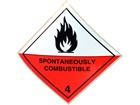 Spontaneously combustible 4 hazard warning diamond sign
