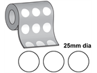 Thermal transfer labels, self adhesive paper, 25mm diameter.