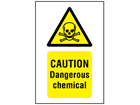 Caution dangerous chemical symbol and text safety sign.