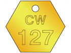 Custom hexagonal brass valve tag natural lettering