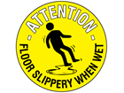 Attention floor slippery when wet floor marker