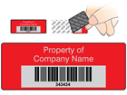 Scanmark tamper evident barcode label (text on colour), 19mm x 50mm