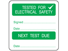 Tested for electrical safety, next test due combination label.