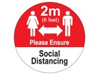 2M Please ensure social distancing sign