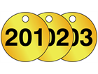 Brass valve tags, numbered 201-225