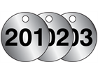 Aluminium valve tags, numbered 201-225