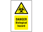 Danger biological hazard symbol and text safety sign.