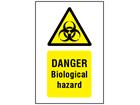 Danger biological hazard symbol and text safety sign.