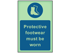 Protective footwear must be worn photoluminescent safety sign