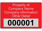 Assetmark foil serial number label (text on colour), 32mm x 50mm