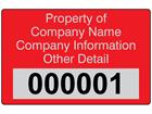 Assetmark foil serial number label (text on colour), 32mm x 50mm