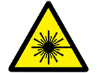 Caution laser symbol safety label.