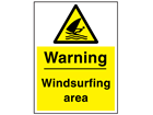 Warning windsurfing area sign.