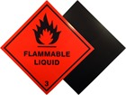 Flammable liquid, class 3, hazard warning diamond label, magnetic