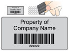 Scanmark tamper evident barcode label (black text), 19mm x 38mm