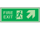 Fire exit, arrow diagonal facing the right and up photoluminescent safety sign
