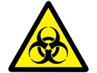 Biological hazard warning symbol label.