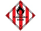 Flammable solid, class 4, hazard diamond label
