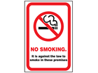No smoking safety sign (England).