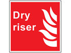 Dry riser symbol and text safety sign.