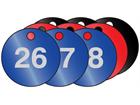 Coloured aluminium valve tags, numbered 26-50
