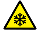Low temperature hazard warning symbol label.