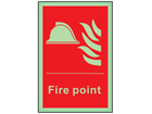 Fire point symbol and text photoluminescent safety sign