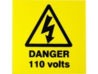 Danger 110 volts label